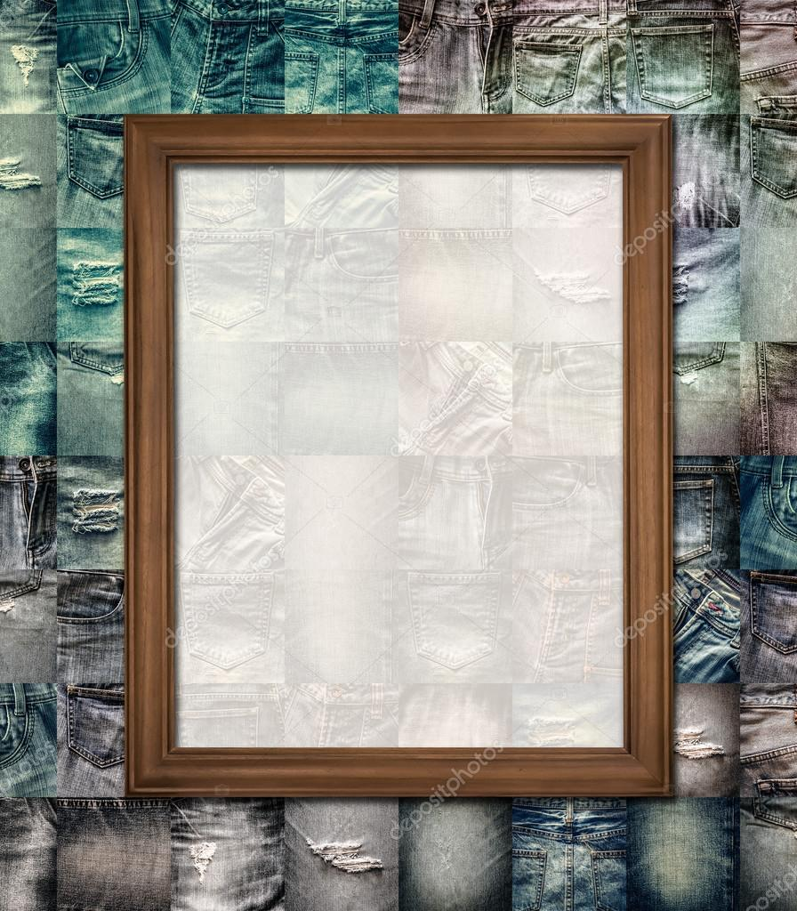 Holz Bilderrahmen Collage Jeans — Stockfoto © surasaki #85497644