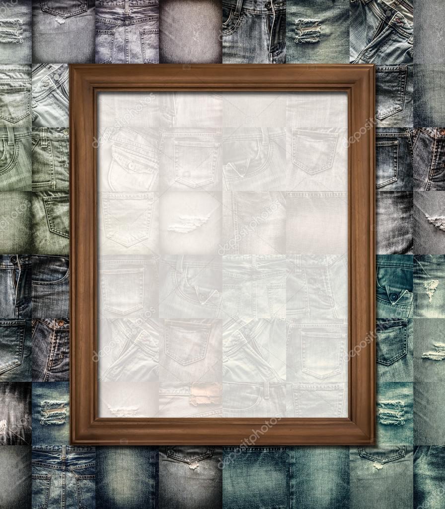 Holz Bilderrahmen Collage Jeans — Stockfoto © surasaki #85497920