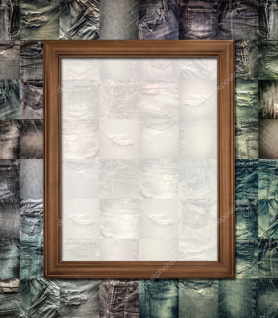 Marco de madera en jeans de collage — Foto de stock © surasaki #85498090