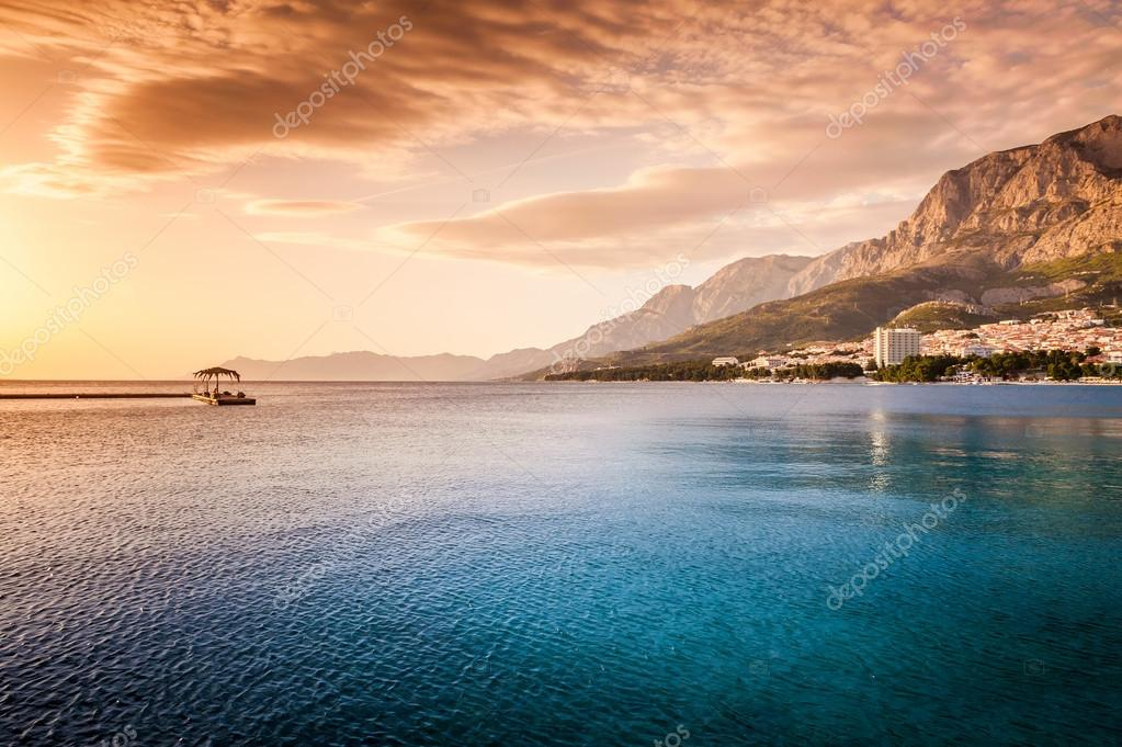 Beautiful sunset by the sea in Makarska, Dalmatia, Croatia