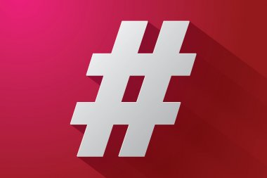 Hashtag sign with long shadow on red background