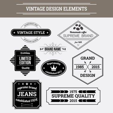 Vintage vector design elements. Retro style typographic labels