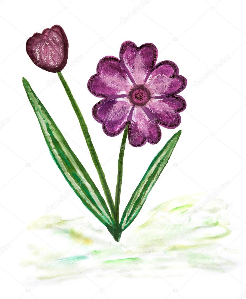 Watercolor Paintig Of Simple Blossoming Flower Stock Photo