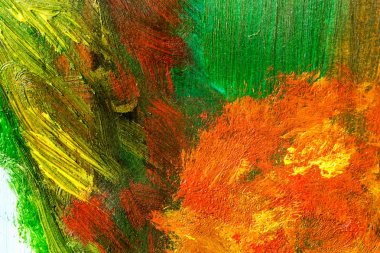 Detail from acrylic paintings in earthy tones and fall colors