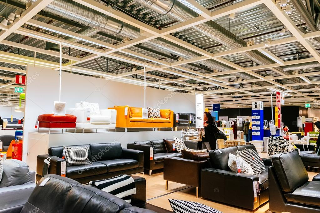interior of large ikea store with a wide range of products. Black Bedroom Furniture Sets. Home Design Ideas