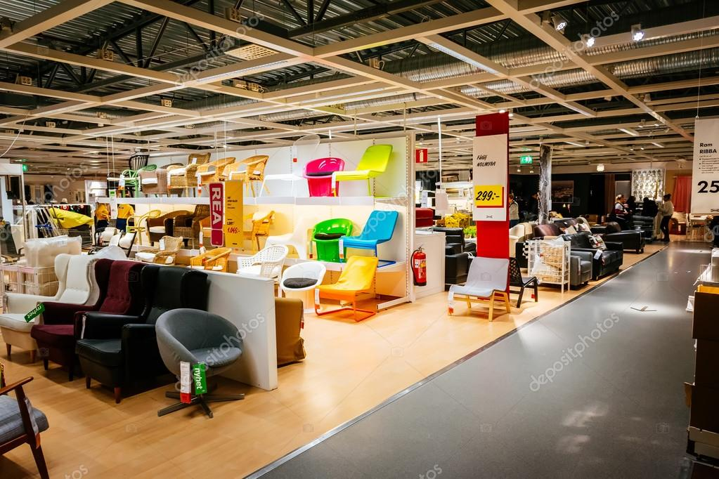 Marvelous Interior Of Large IKEA Store With A Wide Range Of Products In Malmo, Sweden.
