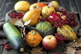 Tiny pumpkins in wooden box on table