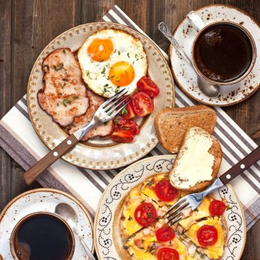 Traditional breakfast eggs with coffee cup