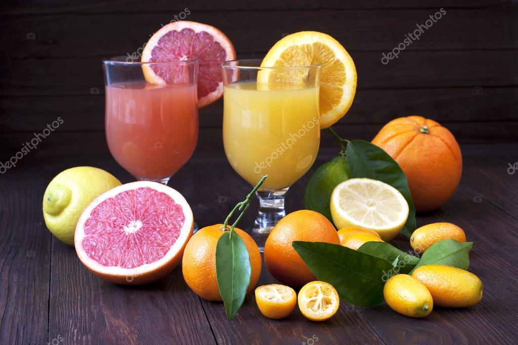 Fresh juice mix fruit, healthy drinks on wooden table