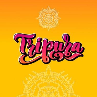 Tripura Handwritten stock lettering typography. States of India.