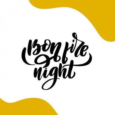 Bonfire Night Hand Lettering Inscription. Graphic Calligraphy
