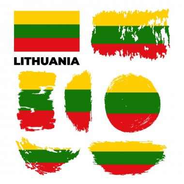 Grunge Lithuania flags set. Vector stock illustration isolated on white background. icon