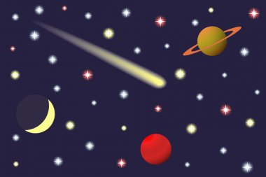 Saturn and Comet in the starry sky.