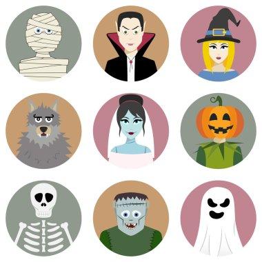 Set of nine Halloween characters