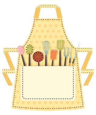 Dotted kitchen apron with kitchen utensils in the pocket