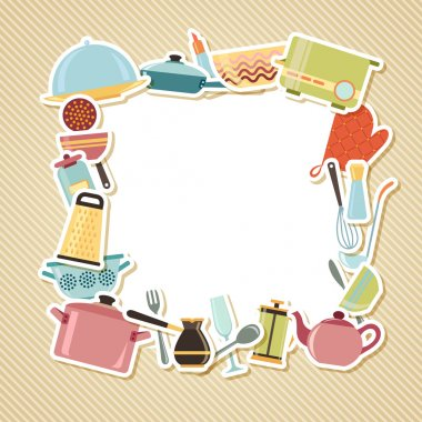 Kitchen utensils, appliances and cookware on striped background
