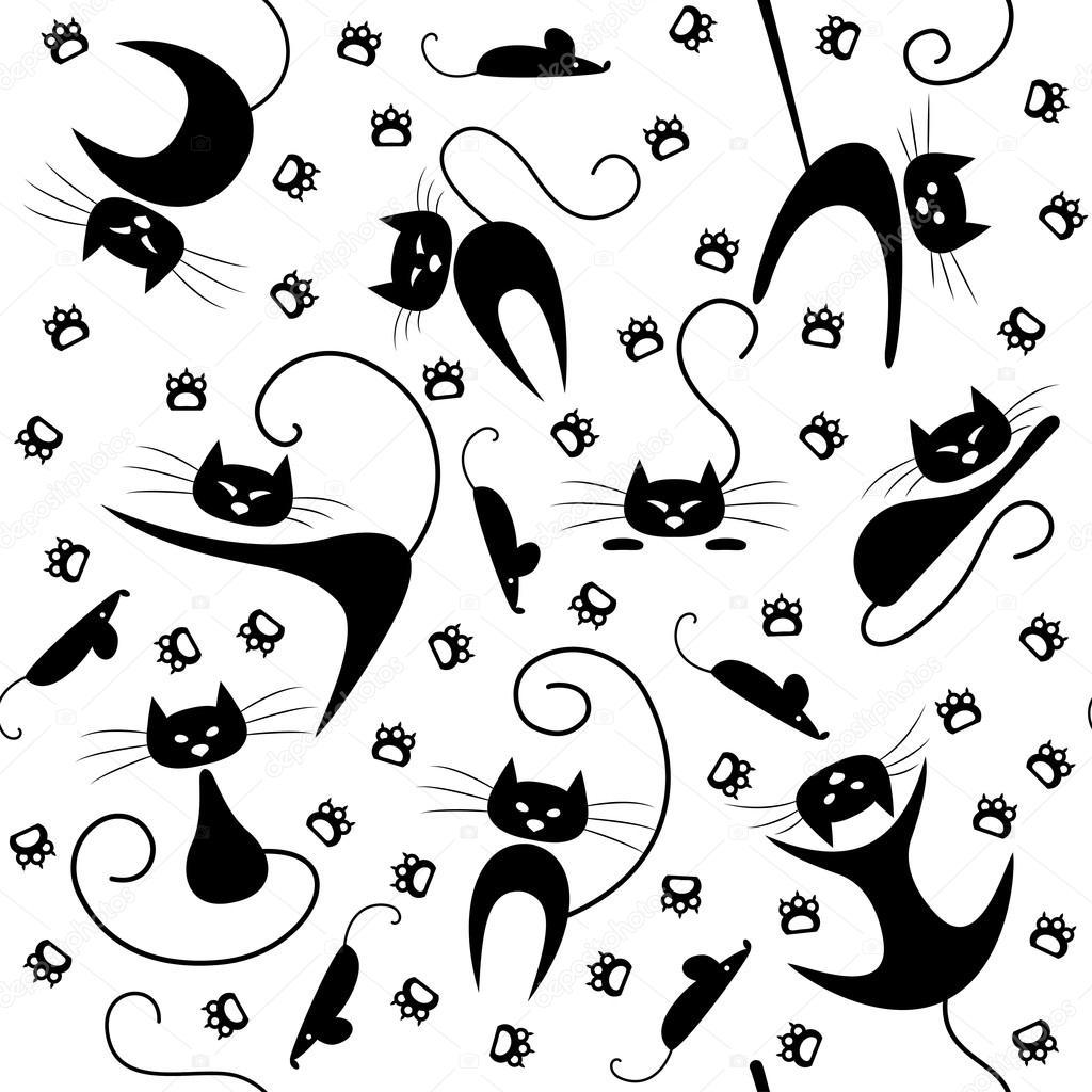 patrones sin fisuras con los gatos negros, huellas y ratones ...