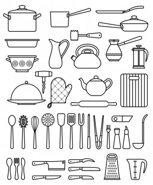 Set of silhouette kitchen utensils and collection of cookware icons