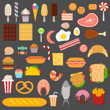 Icons of sweets, fast food, meat and fish