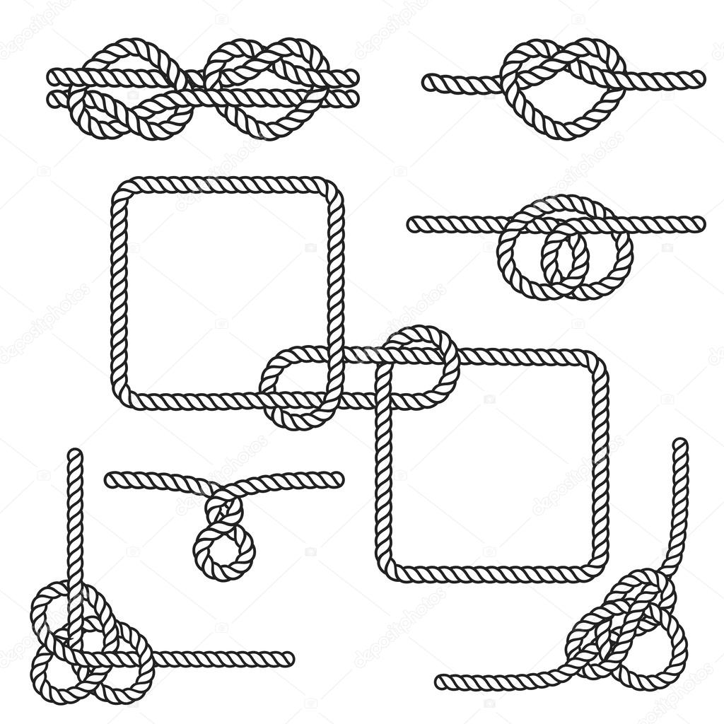 Rope Knots Collection Vector Illustration With Different ...