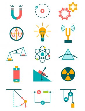 Science and physics icons set. Vector illustration stock vector