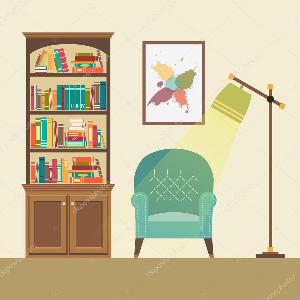 Stehlampe Lesen stilleben mit fauteuil und stehlampe lesen — stockvektor