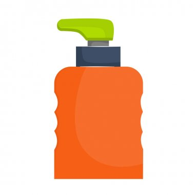 The dispenser bottle is isolated on a white background. Dispenser for liquid or antiseptic. Bright bottle with an uneven surface for the hands. Vector illustration in a flat, cartoon style. icon