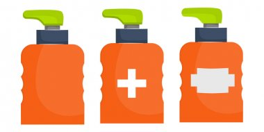 Set of dispenser bottle isolated on white background. Dispenser for liquid or antiseptic. Bright bottle with an uneven surface for the hands. Vector illustration in flat cartoon style. icon