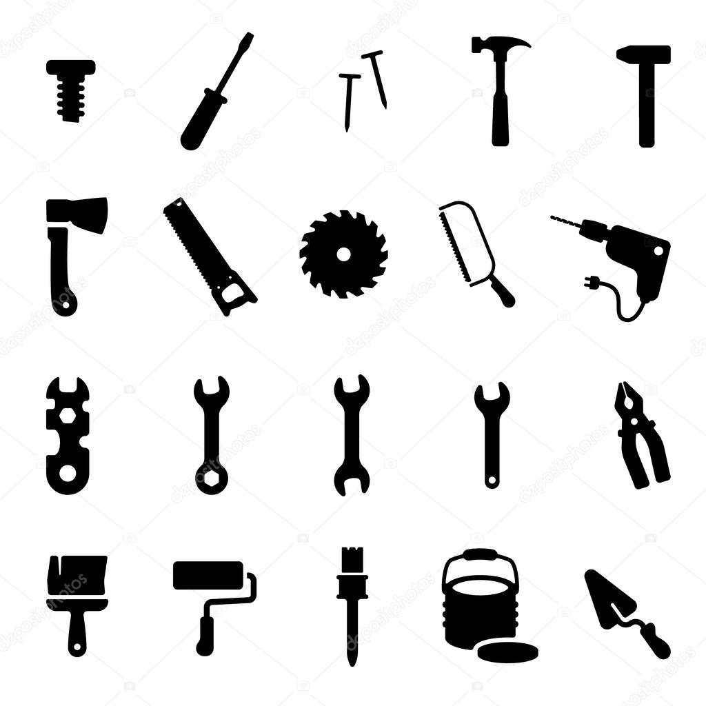 Workshop tools icon set