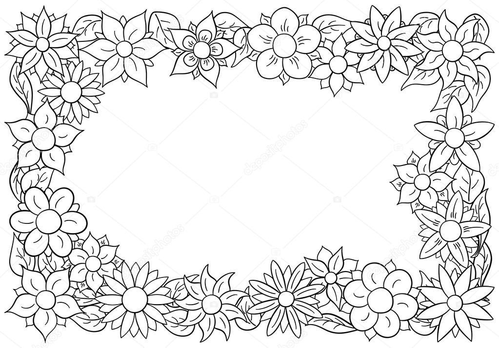 Flower Border For Coloring Stock Vector C Antimartina 101305470