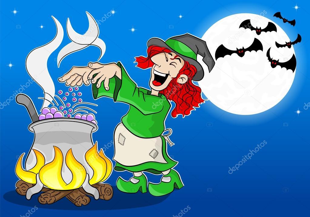 Hexe einen Zaubertrank in die Kessel kochen — Stockvektor ...