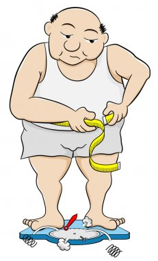 Vector illustration of a overweight man measuring his waist circumference clip art vector
