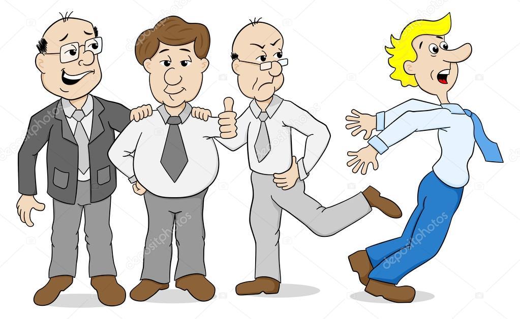 Mobbing - kim başka bir zorba arkadaşları — Stok Vektör