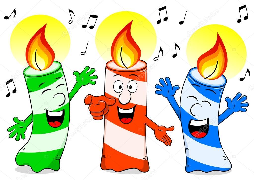 písen k narozeninám kreslený narozeninové svíčky zpívá píseň k narozeninám — Stock  písen k narozeninám