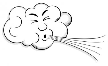cartoon cloud blows wind