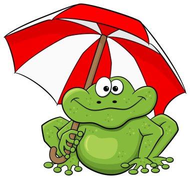 cartoon frog with umbrella