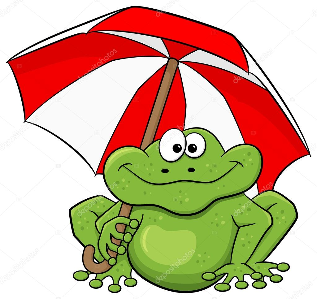 cartoon frog with umbrella
