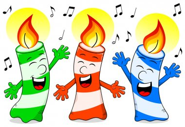 cartoon birthday candles singing a birthday song