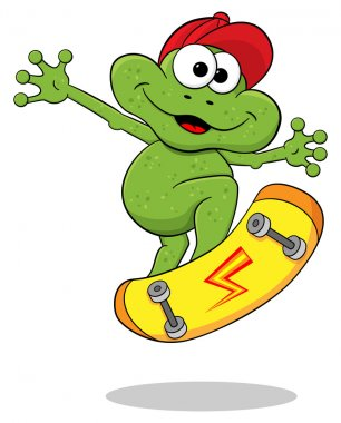 cartoon frog is jumping with a skateborard