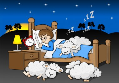sleepless man wakes up in the morning by the alarm clock