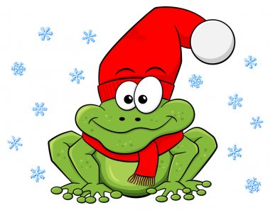cartoon frog with hat and scarf in winter