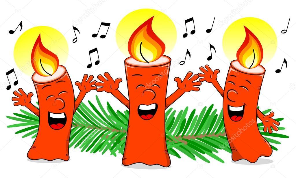 Cartoon-Weihnachtskerzen singen ein Weihnachtslied — Stockvektor ...