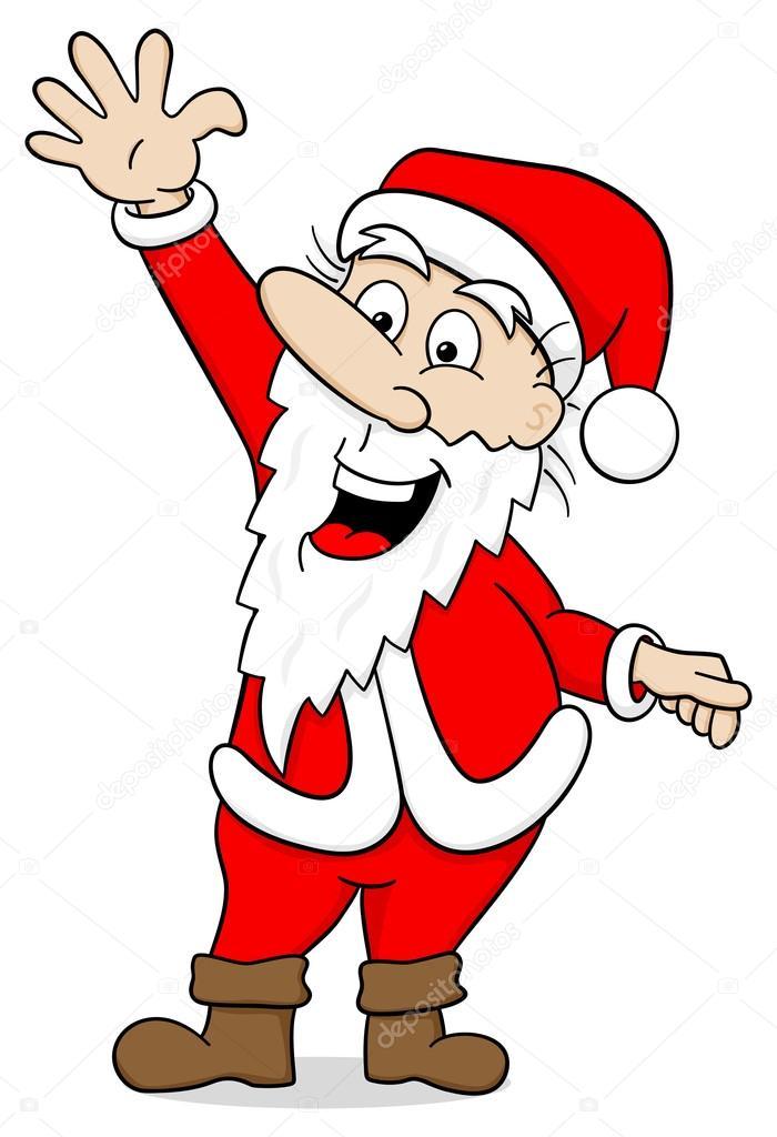 Winken Cartoon Weihnachtsmann Auf Weiß Stockvektor