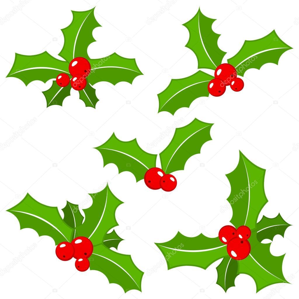 Satz von Christmas Holly verlässt — Stockvektor © antimartina #88897656