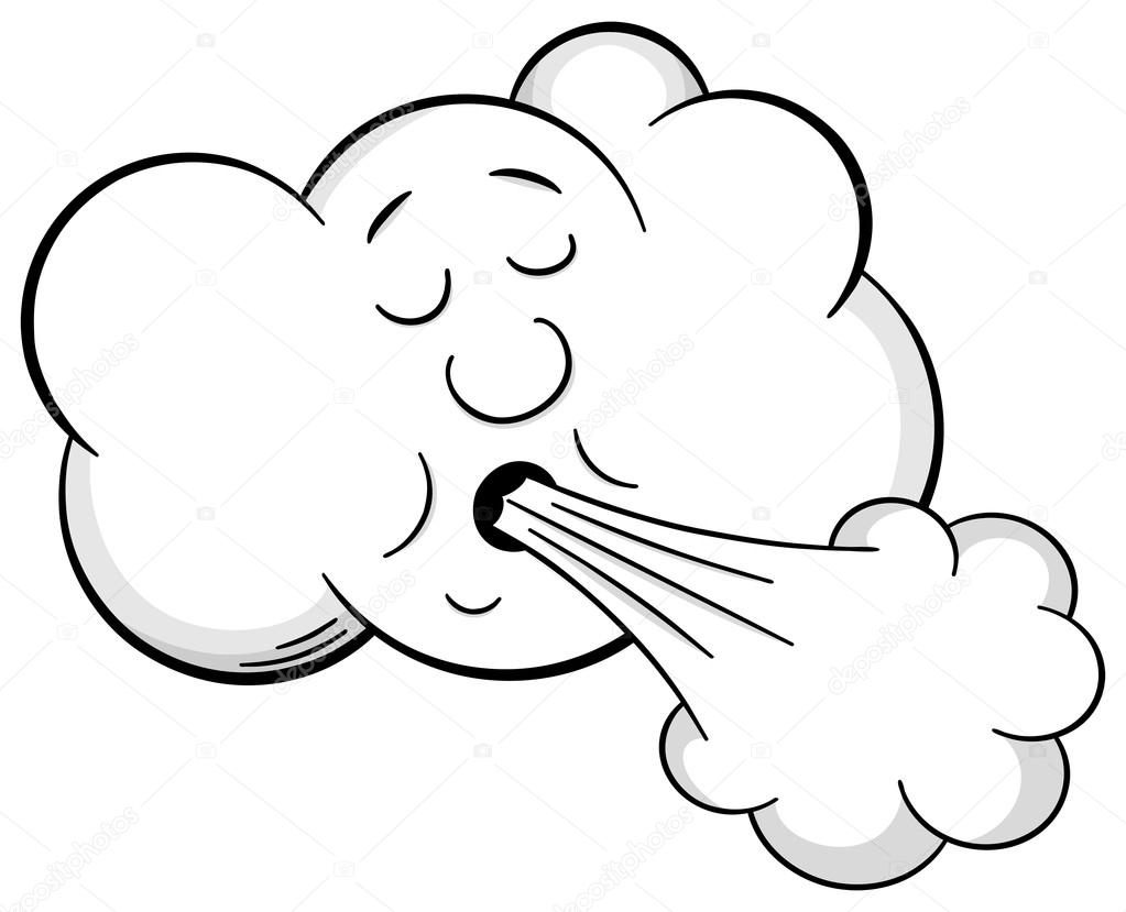 Dessin anim nuage souffle vent image vectorielle - Nuage et vent ...