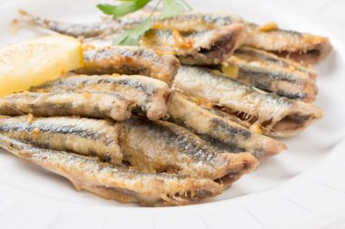 Fried anchovies close up