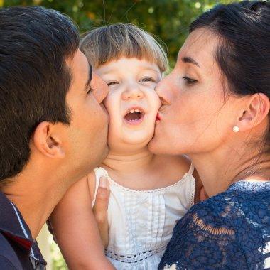 Funny kissing family