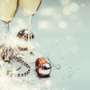 New year with champagne background