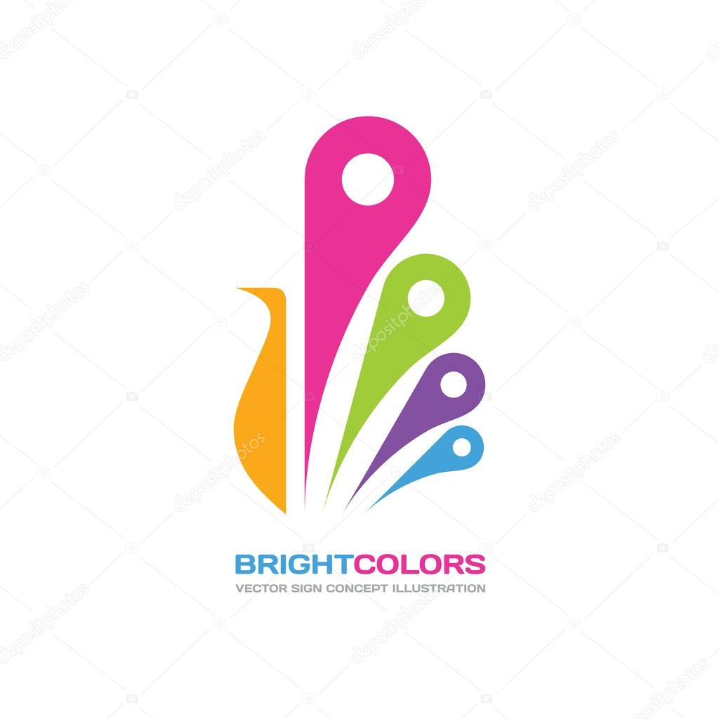 bright colors vector logo concept illustration in flat