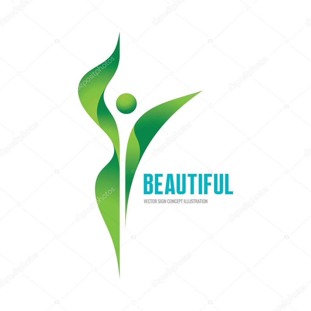 Beatiful - vector logo concept illustration. Health logo. Healthy logo. Beauty salon logo. Fitness logo. Woman logo. Women logo. Human character logo. Leaf logo. Leaves logo. Nature logo. Ecology logo